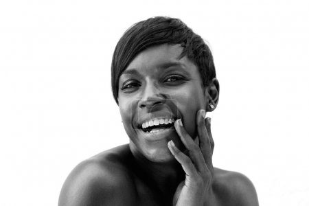Black and white portrait of a cheerful african american woman