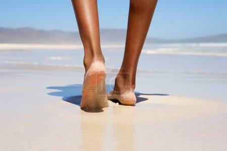 Photo for Low angle woman walking barefoot on beach - Royalty Free Image