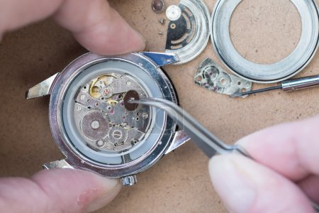 Photo for Details of watches and mechanisms for reparation, restoration and maintenance - Royalty Free Image