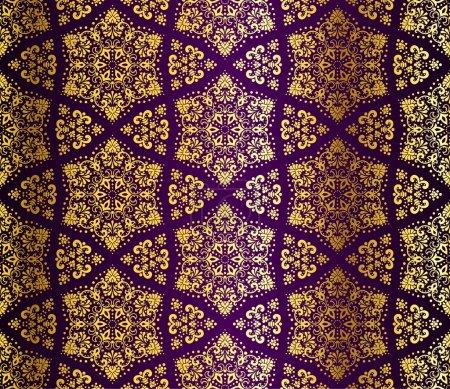 Gold-on-Purple seamless arabesque pattern