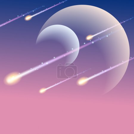 Illustration for Futuristic space background with meteors. Graphics are grouped and in several layers for easy editing. The file can be scaled to any size. - Royalty Free Image