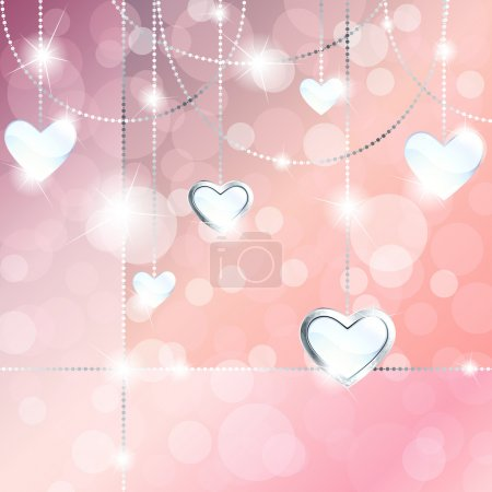 Sparkly banner with heart-shaped pendants