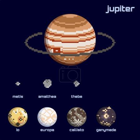 Retro minimalistic set of Jupiter and moons