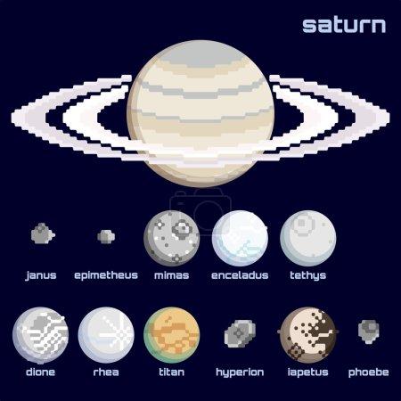 Retro minimalistic set of Saturn and moons