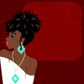 Burgundy background with dark-skinned woman