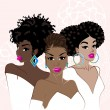 Illustration of a group of beautiful, dark-skinned...