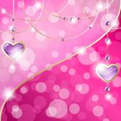 Sparkly hot pink background with gold heart-shaped pendants