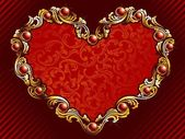 Elegant valentine's day background with gold filigree and embedded jewels Graphics are grouped and in several layers for easy editing The file can be scaled to any size