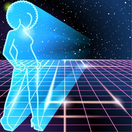 Illustration for 1980's style image with silhouette of a woman sporting an afro. Graphics are grouped and in several layers for easy editing. The file can be scaled to any size. - Royalty Free Image