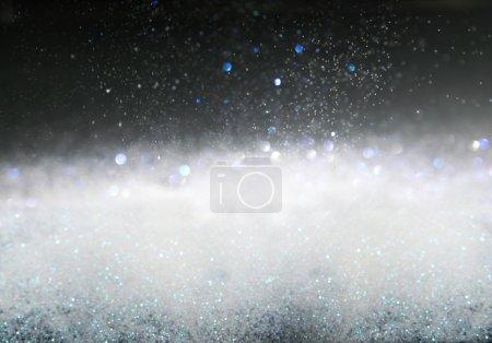Foto de Glitter Vintage Lichter Hintergrund, Silber und schwarz. Bild Unscharf gestellt. - Imagen libre de derechos