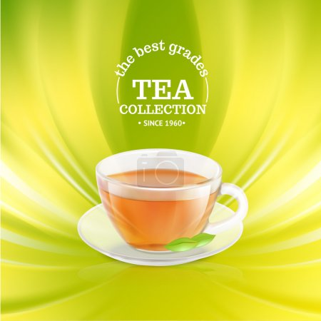 Illustration for Tea cup over green background. Vector illustration. - Royalty Free Image
