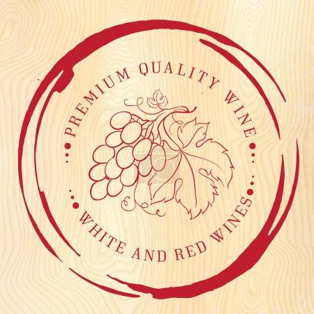 Illustration pour Modèle de conception pour le vin avec des raisins. Illustration vectorielle . - image libre de droit