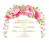 Peony garland for holiday card Vector illustration
