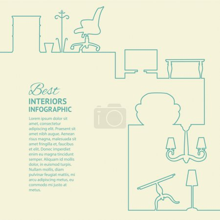 Illustration for Flat colors infographics with line design elements. Vector illustration. - Royalty Free Image