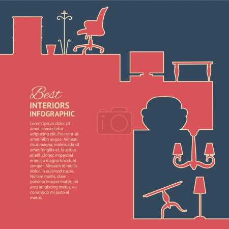 Illustration for Flat colors infographics with interior design elements. Vector illustration. - Royalty Free Image