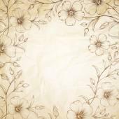 Linum flower frame over old paper Vector illustration