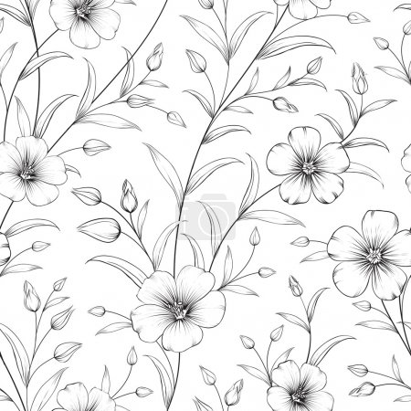 Illustration for Linum seamless pattern for fabric swatches. Vector illustration. - Royalty Free Image