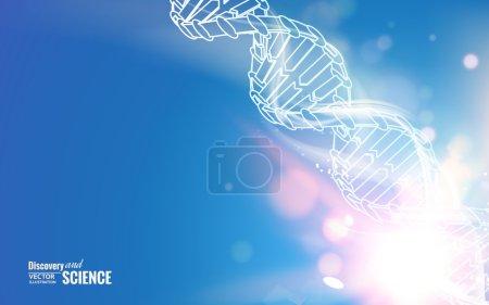 Illustration pour Chaîne ADN sur fond bleu abstrait. Illustration vectorielle. - image libre de droit