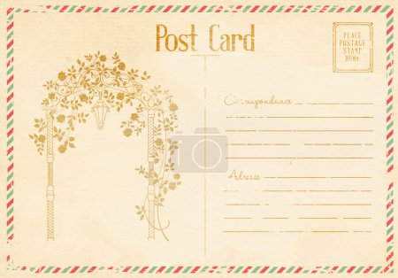 Illustration for Vintage floral postcard with roses arch. Vector illustration. - Royalty Free Image