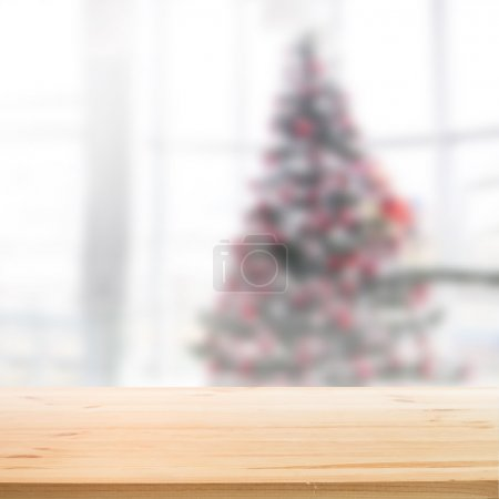 Illustration for Christmas holiday background with wooden table for your design. Vector illustration. - Royalty Free Image