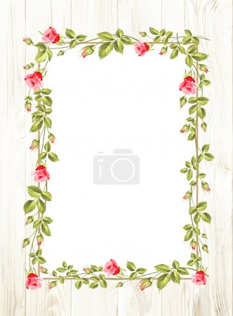 Illustration for Wedding flower frame with flowers over white. Vector illustration - Royalty Free Image