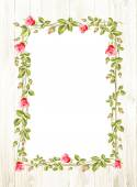 Wedding flower frame with flowers over white Vector illustration