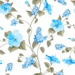 Seamless pattern of Syringa and Hibiscus flowers f...