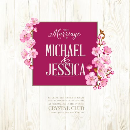 Illustration for Wedding invitation on wooden backdrop. Spring flowers. Cherry blossom - Royalty Free Image