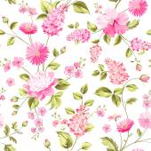 Spring flowers pattern White background