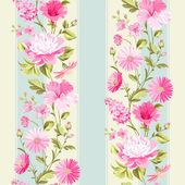 Floral seamless pattern with blooming spring flowers Vector illustration