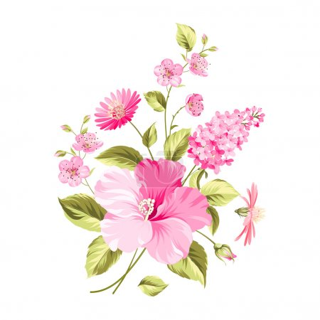 Illustration for Bouquet of flowers. Vector illustration - Royalty Free Image