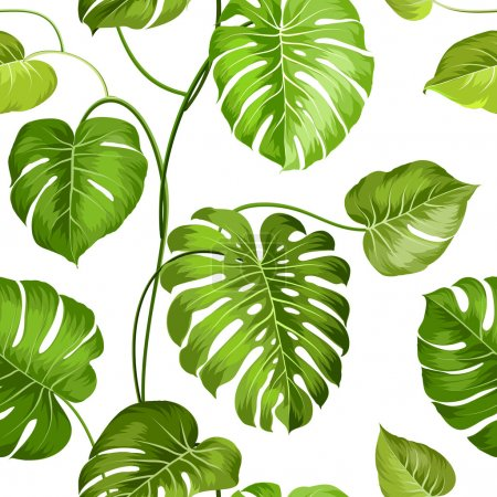Illustration for Topical palm leaves over white, seamless pattern. Vector illustration - Royalty Free Image