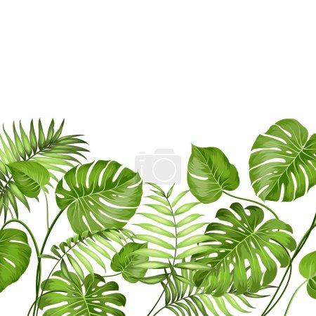 Illustration pour Feuilles tropicales design pour carte texte. Illustration vectorielle - image libre de droit