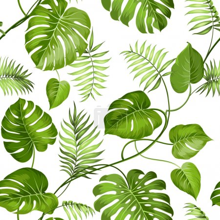 Illustration for Tropical leaves design for fabric swatch. Vector illustration - Royalty Free Image
