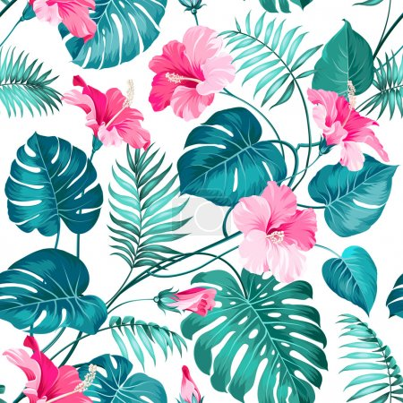 Illustration for Blossom flowers for seamless pattern background. Vector illustration - Royalty Free Image