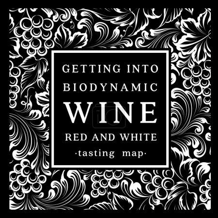 Illustration pour Étiquette pour une bouteille de vin avec un bouquet de raisins. Illustration vectorielle - image libre de droit