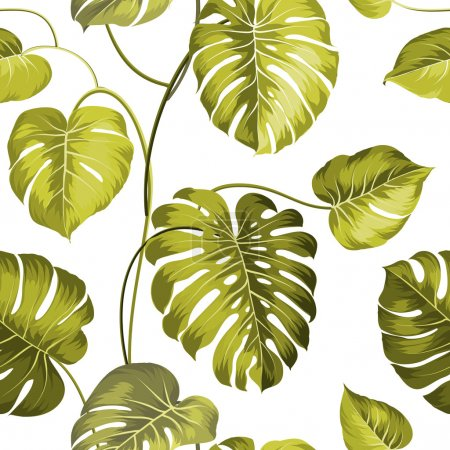 Illustration for Topical palm leaves on seamless pattern. Vector illustration - Royalty Free Image