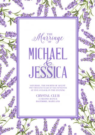 Illustration for Marriage invitation card with custom sign and flower frame. Lavender frame for provence card. Printable vintage marriage invitation with flowers over white. Lavender sign label. Vector illustration - Royalty Free Image