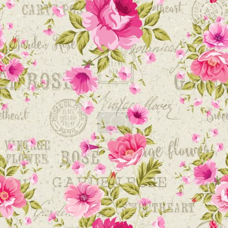 Illustration for Pink Roses over gray background of postal pattern, floral wallpaper, seamless pattern. Backdrop of postal stamps and postmarks, gray background. Vector illustration - Royalty Free Image