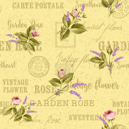 Illustration for Rose and Lavender. Blossom provence flowers. Classical luxury old fashioned ornament, royal seamless texture for wallpapers, textile, wrapping. Backdrop of postal stamps and postmarks - Royalty Free Image