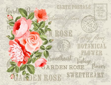 Illustration for Wedding Card and engagement announcement. Wedding of Michael and Jessica. Backdrop of postal stamps and postmarks, gray background. Vector illustration - Royalty Free Image
