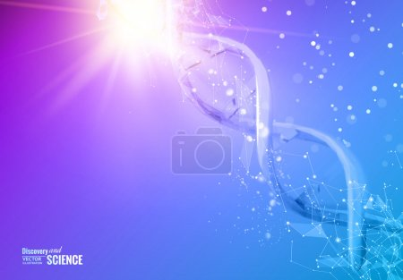 Illustration for Science template for your card, blue wallpaper or banner with a DNA molecules of polygons. Wire-frame mesh polygonal element. Glow light futuristic background.  Vector illustration - Royalty Free Image