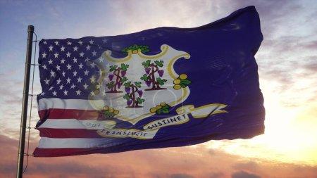 Connecticut and USA flag on flagpole. USA and Conn...