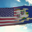 Flag of USA and Connecticut state. USA and Connect...