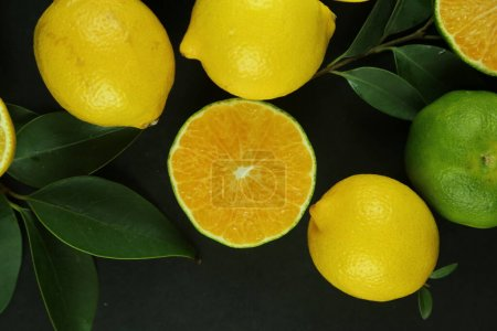 Photo for Group of lemons with leaves, isolated on background. High quality photo - Royalty Free Image