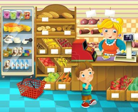 die Ladenszene mit verschiedenen Waren und einer Verkäuferin