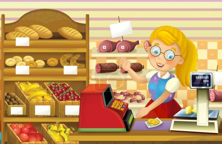 The shop scene with different goods and a clerk