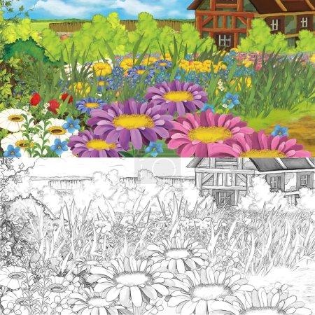 Photo pour Scène de ferme Cartoon - avec page de coloriage. Illustration de joyeux et colorée pour les enfants - image libre de droit