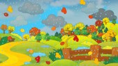 Cartoon autumn nature scene
