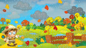 Cartoon autumn nature scene with a traveler